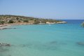 Panoramic view over mirabello bay at crete greece with fantastic colored sea on a bright summer day Royalty Free Stock Photo