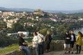 Panoramic view over spanish city tui from portugal tourists have beautiful a viewpoint in the portuguese town valenca the and the Royalty Free Stock Photo