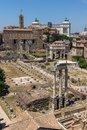Panoramic view from Palatine Hill to ruins of Roman Forum in city of Rome, Italy Royalty Free Stock Photo