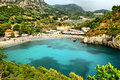 Panoramic view of Paleokastritsa bay Stock Photography