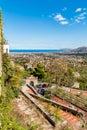 Panoramic view of Palermo city and mediterranean sea coast around. Royalty Free Stock Photo