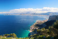Panoramic view of palermo sicily the main town with surrounding mountains and the sea from monte pellegrino Royalty Free Stock Photo