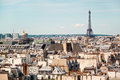 Panoramic view of Paris from the roof of The Centre Pompidou Museum building.