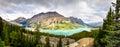 Panoramic view of Peyto lake and Rocky mountains, Alberta Royalty Free Stock Photo