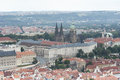 Panoramic view of prague castle from the petrin hill Royalty Free Stock Image