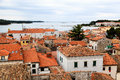Panoramic View on Red Roofs of Porec Stock Images