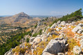 Panoramic view of Rhodes mountain. Royalty Free Stock Photo