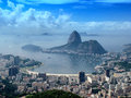 Panoramic view of rio de janeiro citycsape a cityscape from the mirante dona marta peak in brazil Royalty Free Stock Photos