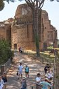 Panoramic view of ruins in Palatine Hill in city of Rome, Italy Royalty Free Stock Photo
