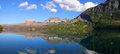 Panoramic view of saint mary lake in glacier national park Stock Images