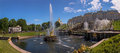 Panoramic view of Samson fountain in Petergof in summer Royalty Free Stock Photo