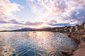 Panoramic view on sea bay on sunset dahab egypt Royalty Free Stock Images
