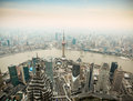 Panoramic view of shanghai at dusk Royalty Free Stock Images