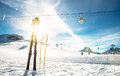 Panoramic view of ski resort and chair lift in french alps Royalty Free Stock Photo