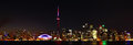 Panoramic view of the skyline of Toronto, Canada, at night