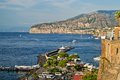 Panoramic view of sorrento italy and gulf naples with touristic harbor landscape version Stock Images