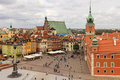 Panoramic view square front castle warsaw poland Stock Photos