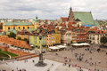 Panoramic view square front castle warsaw poland Royalty Free Stock Photo