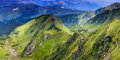 Panoramic view of summer landscape in mountains. Royalty Free Stock Photo