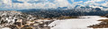 Panoramic view of summer snowy landscape of a mountain plateau Dachstein-Krippenstein Royalty Free Stock Photo