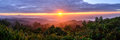Panoramic view of sunrise with mist and mountain at Doi Pha Hom Pok, the second highest mountain in Thailand, Chiang Mai, Thailand Royalty Free Stock Photo