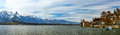 Panoramic view of Swiss Alps and Thun lake Royalty Free Stock Photo