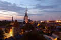 Panoramic view of Tallinn old city center Stock Photography