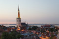 Panoramic view of tallinn old city center estonia Royalty Free Stock Image