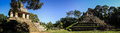 Panoramic view of the Temple of the sun and temple of the cross, Palenque, Chiapas, Mexico Royalty Free Stock Photo