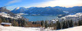Panoramic view to lake schliersee germany wintry german landscape Stock Image