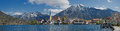 Panoramic view to rottach-egern and lake tegernsee with alps Royalty Free Stock Photo