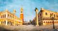 Panoramic view to san marco square in venice italy early the morning Royalty Free Stock Photos