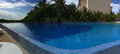 Panoramic view to the swimming pool at sunrise tim time in cancun mexico Stock Image