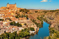 Panoramic view of toledo spain and the tagus river a with in foreground imposing alcazar in background Royalty Free Stock Images