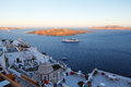 Panoramic view of the town of fira santorini greece Stock Photo