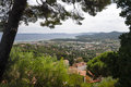 Panoramic view with trees framing at bormes les mimosa mimosas france Stock Photo