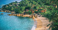 Panoramic view of tropical beach with coconut palm trees koh samui thailand Royalty Free Stock Photo