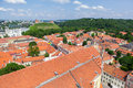 Panoramic view of vilnius old town and castle on red roofs gediminas Stock Images