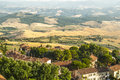 Panoramic view from volterra tuscany pisa italy at evening Stock Photo