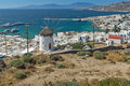 Panoramic view of white windmill and island of Mykonos, Greece Royalty Free Stock Photo