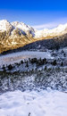Panoramic view of winter mountains in High Tatras, Slovakia