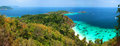 Panoramic viewpoint of similan islands famous paradise bay thailand Stock Photos