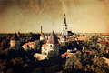 Panoramic vintage style view of tallinn old city center estonia Royalty Free Stock Photos