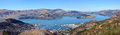 Lyttleton Port & Harbour Panorama, Christchurch,  New Zealand. Royalty Free Stock Photo