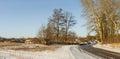 Panoramic winter landscape in Ukrainian rural area Royalty Free Stock Photo