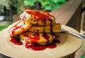 Panquecas com bing cherry syrup Imagem de Stock Royalty Free