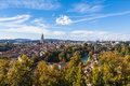 Panrama view of berne old town from mountain top in rose garden Stock Image