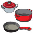 Pans isolated hand drawn illustration of a collection of kitchen on white Stock Images