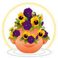 Pansies in a Strawberry Jar  Royalty Free Stock Photo