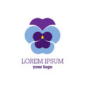 Pansy flower logo. Heartsease sign